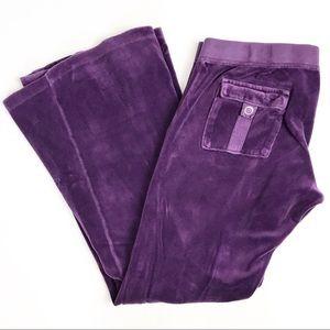 Juicy Couture Women's Flare Velour Pants Purple L